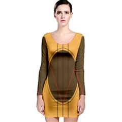 Guitar Picking Tool Line Tone Music Long Sleeve Bodycon Dress