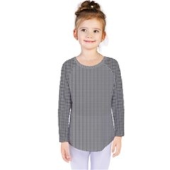 Black Polka Dots Line Plaid Kids  Long Sleeve Tee