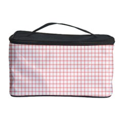 Red Line Plaid Vertical Horizon Cosmetic Storage Case by Jojostore