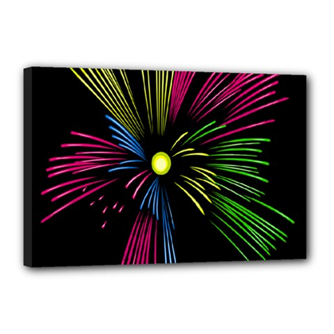 Fireworks Pink Red Yellow Green Black Sky Happy New Year Canvas 18  X 12  by Jojostore