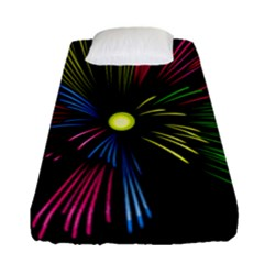Fireworks Pink Red Yellow Green Black Sky Happy New Year Fitted Sheet (single Size)