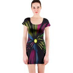 Fireworks Pink Red Yellow Green Black Sky Happy New Year Short Sleeve Bodycon Dress