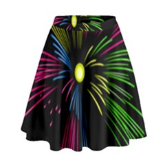 Fireworks Pink Red Yellow Green Black Sky Happy New Year High Waist Skirt