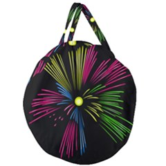 Fireworks Pink Red Yellow Green Black Sky Happy New Year Giant Round Zipper Tote by Jojostore