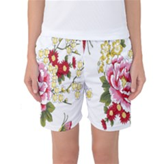 Butterfly Flowers Rose Women s Basketball Shorts