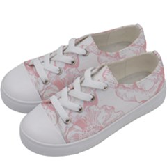 Vintage Pink Floral Kids  Low Top Canvas Sneakers by 8fugoso