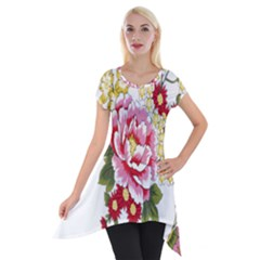 Butterfly Flowers Rose Short Sleeve Side Drop Tunic