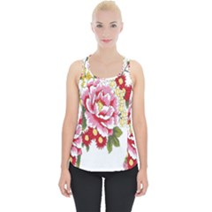 Butterfly Flowers Rose Piece Up Tank Top