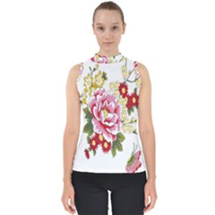 Butterfly Flowers Rose Shell Top