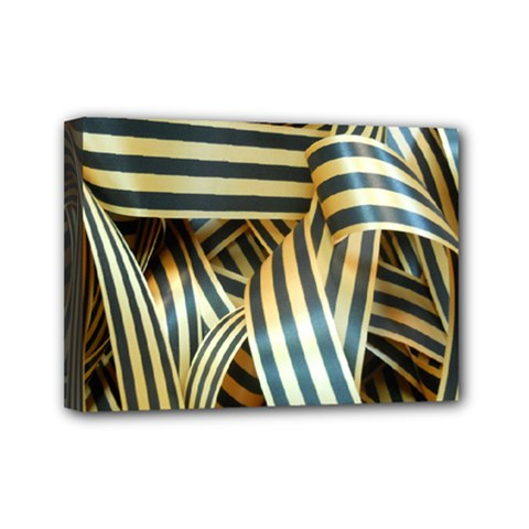 Ribbons Black Yellow Mini Canvas 7  X 5  by Jojostore