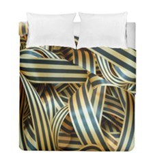 Ribbons Black Yellow Duvet Cover Double Side (full/ Double Size)