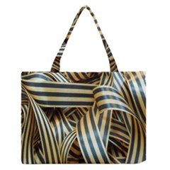 Ribbons Black Yellow Zipper Medium Tote Bag by Jojostore