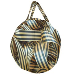 Ribbons Black Yellow Giant Round Zipper Tote by Jojostore
