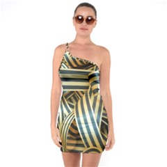Ribbons Black Yellow One Soulder Bodycon Dress