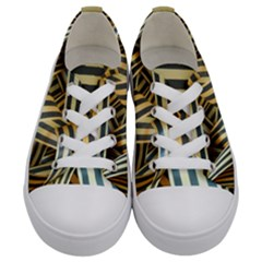 Ribbons Black Yellow Kids  Low Top Canvas Sneakers