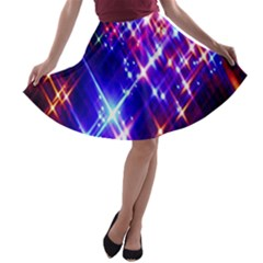 Star Light Space Planet Rainbow Sky Blue Red Purple A Line Skater Skirt