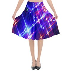 Star Light Space Planet Rainbow Sky Blue Red Purple Flared Midi Skirt