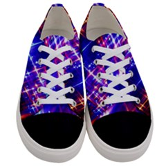 Star Light Space Planet Rainbow Sky Blue Red Purple Women s Low Top Canvas Sneakers