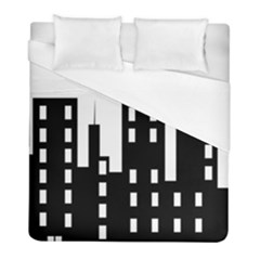 Tower City Town Building Black Duvet Cover (full/ Double Size) by Jojostore