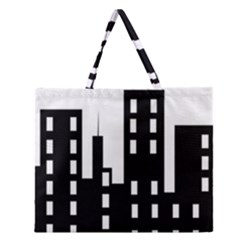 Tower City Town Building Black Zipper Large Tote Bag by Jojostore