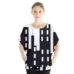 Tower City Town Building Black Blouse by Jojostore
