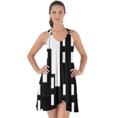 Tower City Town Building Black Show Some Back Chiffon Dress