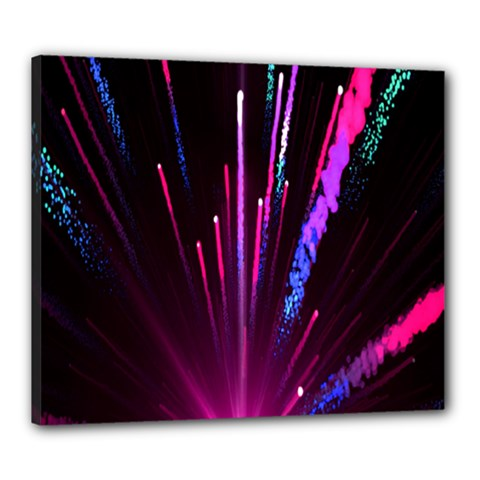Happy New Year City Semmes Fireworks Rainbow Red Blue Purple Sky Canvas 24  X 20