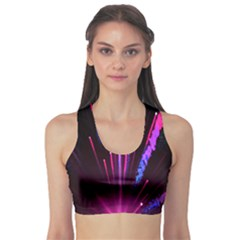 Happy New Year City Semmes Fireworks Rainbow Red Blue Purple Sky Sports Bra