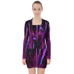 Happy New Year City Semmes Fireworks Rainbow Red Blue Purple Sky V Neck Bodycon Long Sleeve Dress