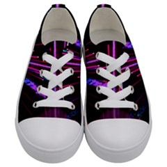 Happy New Year City Semmes Fireworks Rainbow Red Blue Purple Sky Kids  Low Top Canvas Sneakers