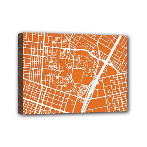 Texsas New York Map Art City Line Street Mini Canvas 7  X 5  by Jojostore