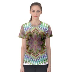 Star Flower Glass Sexy Chromatic Symmetric Women s Sport Mesh Tee