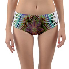 Star Flower Glass Sexy Chromatic Symmetric Reversible Mid Waist Bikini Bottoms