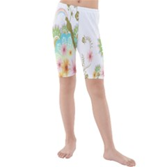Wreaths Sexy Flower Star Leaf Rose Sunflower Bird Summer Kids  Mid Length Swim Shorts