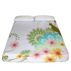 Wreaths Sexy Flower Star Leaf Rose Sunflower Bird Summer Fitted Sheet (king Size) by Mariart
