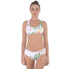Wreaths Sexy Flower Star Leaf Rose Sunflower Bird Summer Criss Cross Bikini Set by Mariart