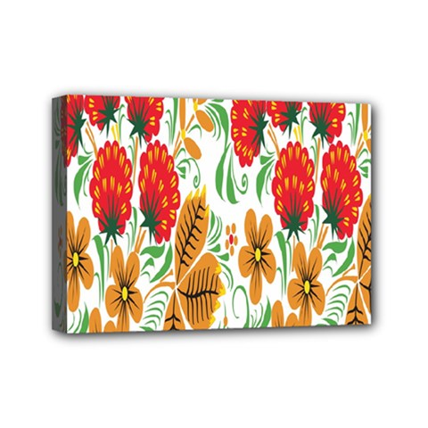 Flower Floral Red Yellow Leaf Green Sexy Summer Mini Canvas 7  X 5  by Mariart