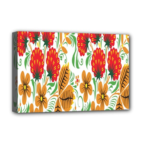 Flower Floral Red Yellow Leaf Green Sexy Summer Deluxe Canvas 18  X 12   by Mariart
