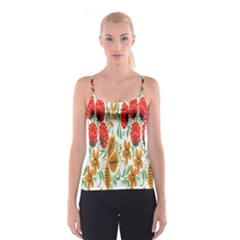 Flower Floral Red Yellow Leaf Green Sexy Summer Spaghetti Strap Top by Mariart