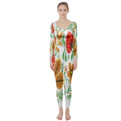 Flower Floral Red Yellow Leaf Green Sexy Summer Long Sleeve Catsuit