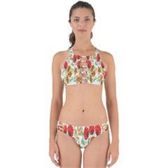 Flower Floral Red Yellow Leaf Green Sexy Summer Perfectly Cut Out Bikini Set