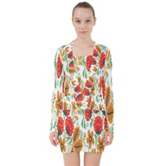 Flower Floral Red Yellow Leaf Green Sexy Summer V Neck Bodycon Long Sleeve Dress by Mariart