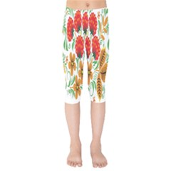 Flower Floral Red Yellow Leaf Green Sexy Summer Kids  Capri Leggings