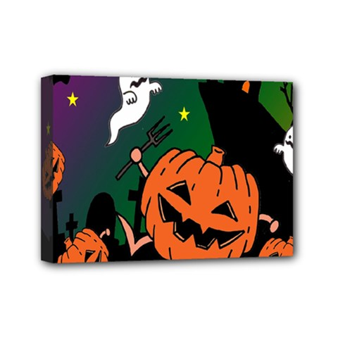 Happy Halloween Mini Canvas 7  X 5  by Mariart