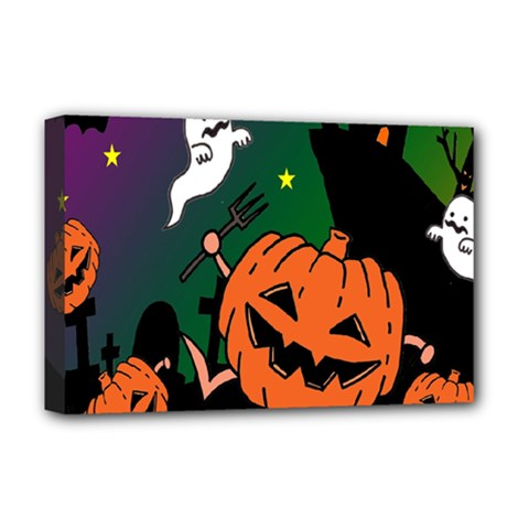 Happy Halloween Deluxe Canvas 18  X 12   by Mariart