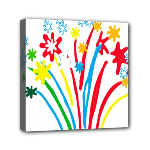 Fireworks Rainbow Flower Mini Canvas 6  X 6  by Mariart