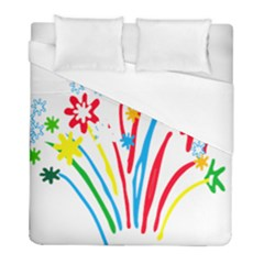 Fireworks Rainbow Flower Duvet Cover (full/ Double Size) by Mariart