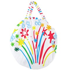 Fireworks Rainbow Flower Giant Round Zipper Tote by Mariart