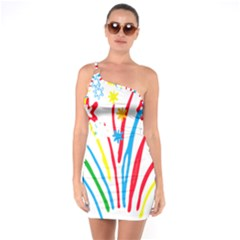 Fireworks Rainbow Flower One Soulder Bodycon Dress