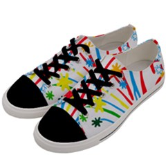 Fireworks Rainbow Flower Men s Low Top Canvas Sneakers by Mariart